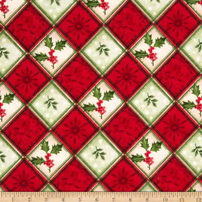 Christmas Flannel Holly Berrys Plaid Red/Green