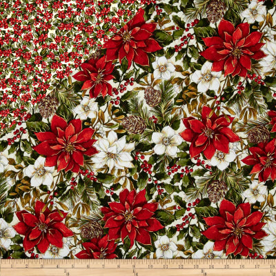 Woodland Christmas Double Face Quilted Pine Cones & Poinsettia Red