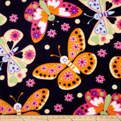 Fleece Tossed Butterflies Navy