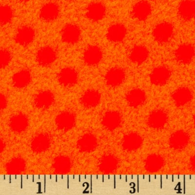 Fleece Polka Dot Bright Orange/Red