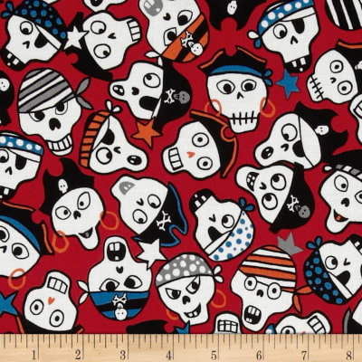Monkey's Bizness Ahoy Pirate Skulls Red