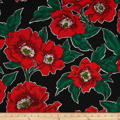 Folklorico Poppies de Potosi Large Flowers Black/Red