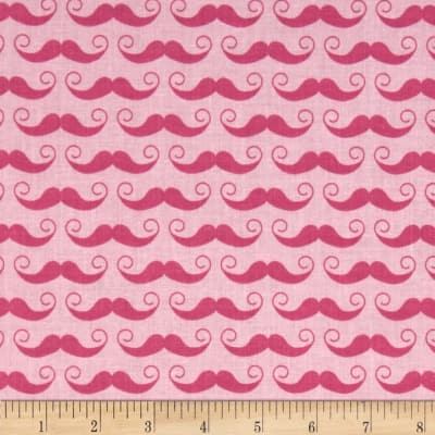 Riley Blake Geekly Chic Large Mustache Hot Pink