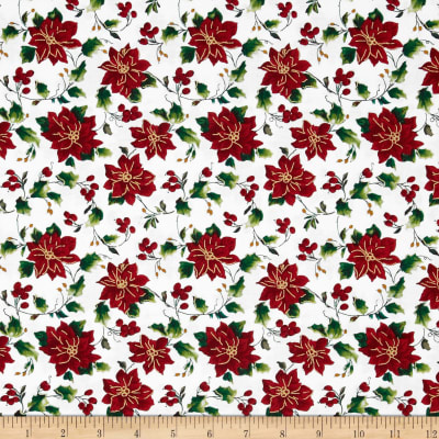Seasons Greetings Poinsettia White