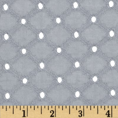 Michael Miller Lattice Cotton Eyelet Grey