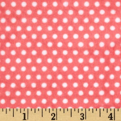 Shannon Minky Cuddle Swiss Dot Coral/Snow
