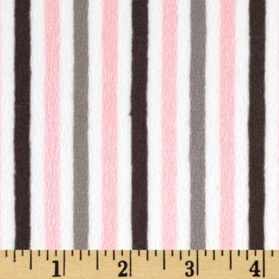 Shannon Minky Cuddle Classic Mini Stripe Blush/Silver