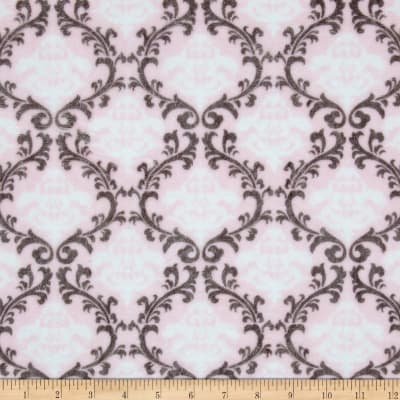 Shannon Minky Cuddle Vine Damask Blush