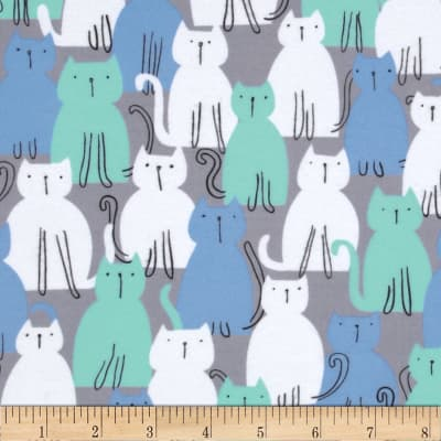 Michael Miller Pastel Pop It's A Boy Thing Flannel Here Kitty Kitty Aqua