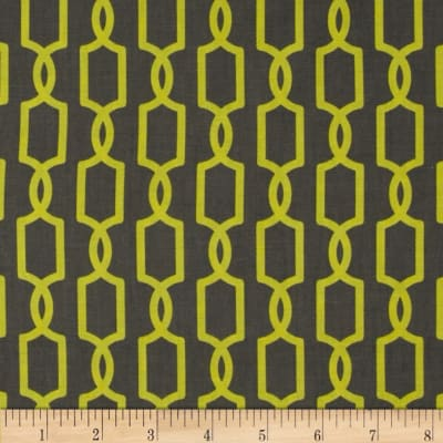 Michael Miller Pastel Pop Citron Grey Trelliage Straw