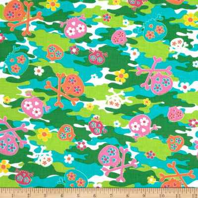 Kanvas Cool Girl Camo Skulls Multi