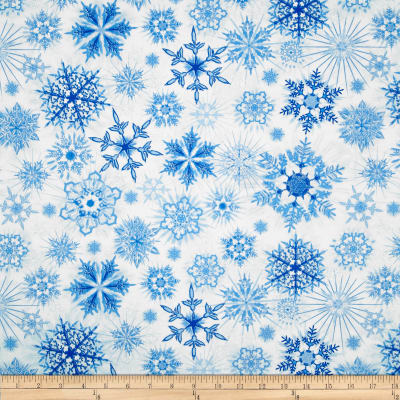 Timeless Treasures Winter Frost Glitter Snowflakes Snow