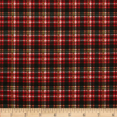 Timeless Treasures Christmas Flannels Taylor Plaid Red