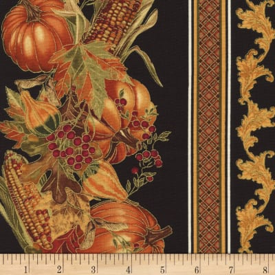 Timeless Treasures Gather Together Metallic Harvest Border Black