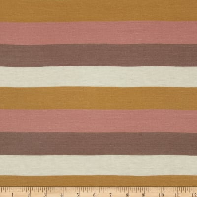 Silk Rayon Jersey Knit Stripes Rose/Honey