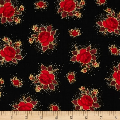 Season's Greetings Small Flowers Black