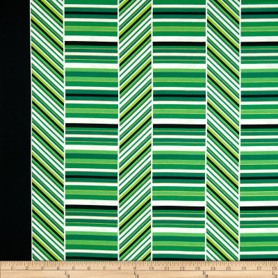 Kanvas Deck the Halls Metallic Peppermint Stripe Green/White