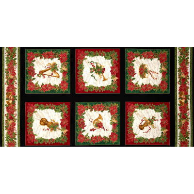 Timeless Treasures Comfort & Joy Metallic Christmas Panel Black
