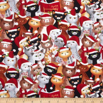 Kanvas Holiday Christmas Novelty Caroling Cats Red