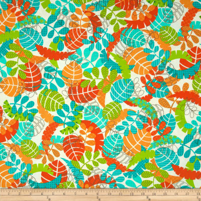 Kanvas Monkeying Around Tropical Leaf White/Orange