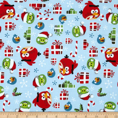 Angry Birds Holly Jolly Christmas Light Blue