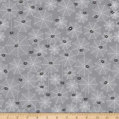 Riley Blake Halloween Parade Halloween Cobwebs Grey