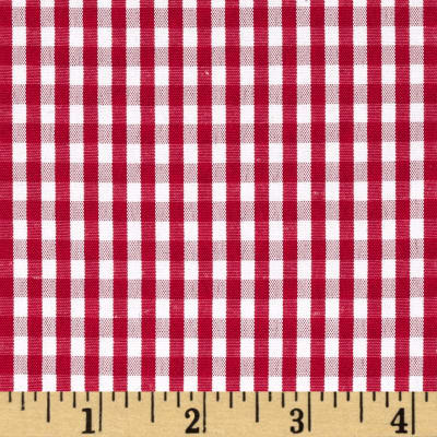 "60"" Cotton Blend Woven 1/8'' Gingham Red"