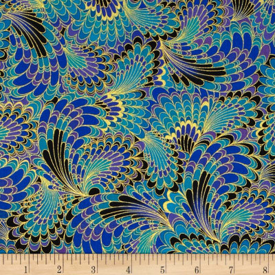 Timeless Treasures Palazzo Metallic Abstract Endpaper Peacock