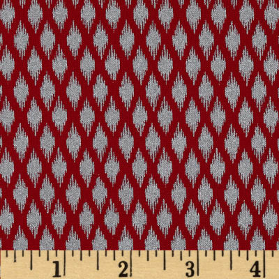 Pearle Silver Opalescent Ikat Red