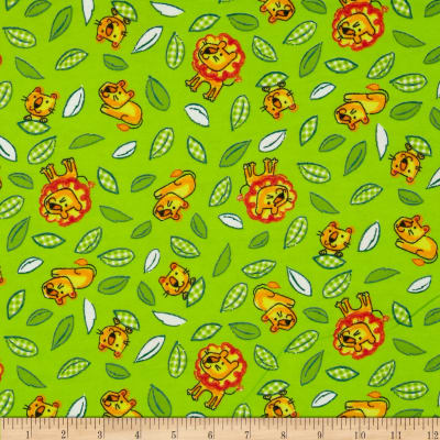 Flannel Novelties Tossed Lions Lime