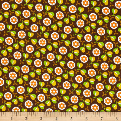 Timeless Treasures Retro Flowers Brown