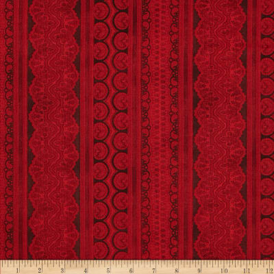 Holiday Magic Lace Ticking Stripe Red