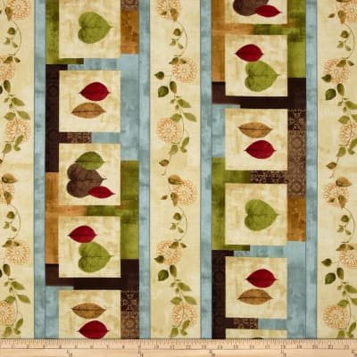 Leaves and Vines Repeating Stripe Multi