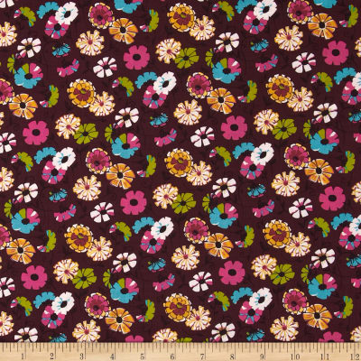 Kaufman London Calling Lawn Abstract Flower Plum