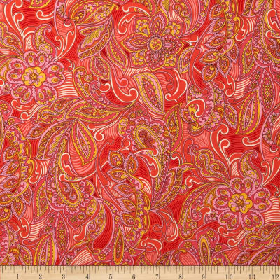 Kaufman London Calling Lawn Paisley Medallion Peach