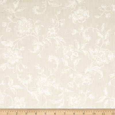 "108"" Wide Whisper Print Floral Toile Ivory"