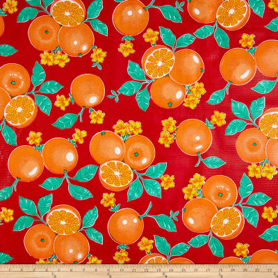 Oilcloth Oranges Red