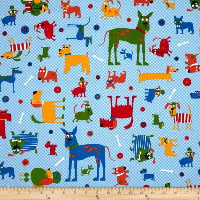 Whiskers & Tails Dogs Allover Primary Blue