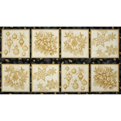 Holiday Flourish Metallic Large Blocks Panel Antique Cream