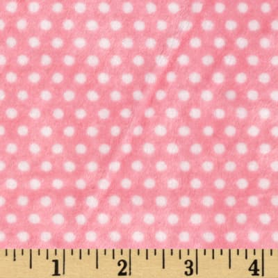 Shannon Minky Cuddle Swiss Dot Paris Pink/Snow