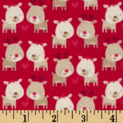Riley Blake Home for the Holidays Flannel Deer Red