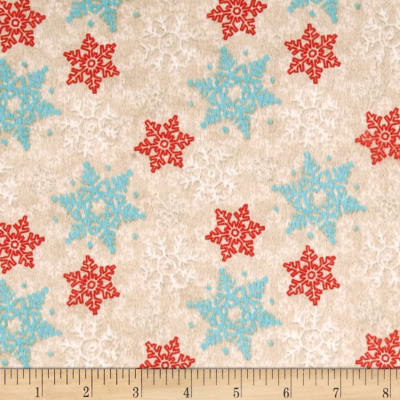 Cocoa & Cookies Flannel Snowflakes Beige