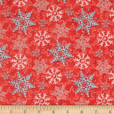 Cocoa & Cookies Flannel Snowflakes Red