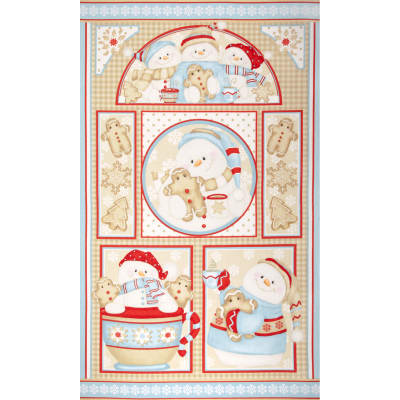 Cocoa & Cookies Flannel Snowman Panel Multi