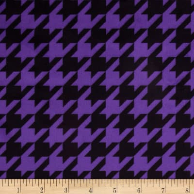 Minky Houndstooth Bright Purple/Black