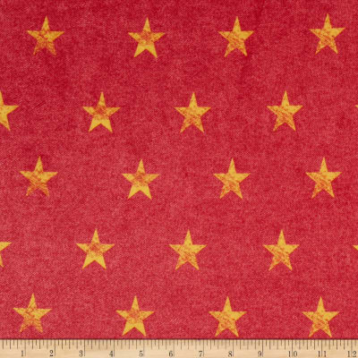Minky Stars Red Denim/Yellow