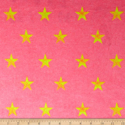 Minky Stars Pink Denim/Neon Yellow