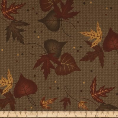 Moda Timber Trail Flannel Large Leaf Timber Brown