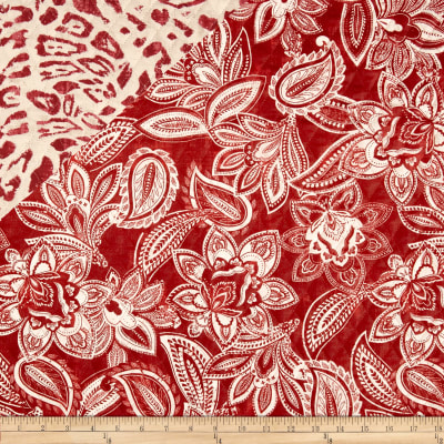 Bella Casa Double Sided Quilted Floral Burnt Red