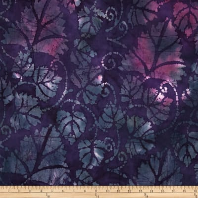 Indian Batik Large Leaves Purple